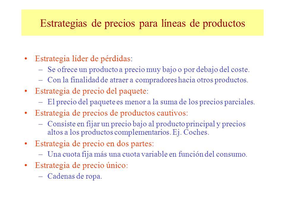 Estrategias de precios para líneas de productos Estrategia líder de pérdidas: –Se ofrece un producto a precio muy bajo o por debajo del coste. –Con la