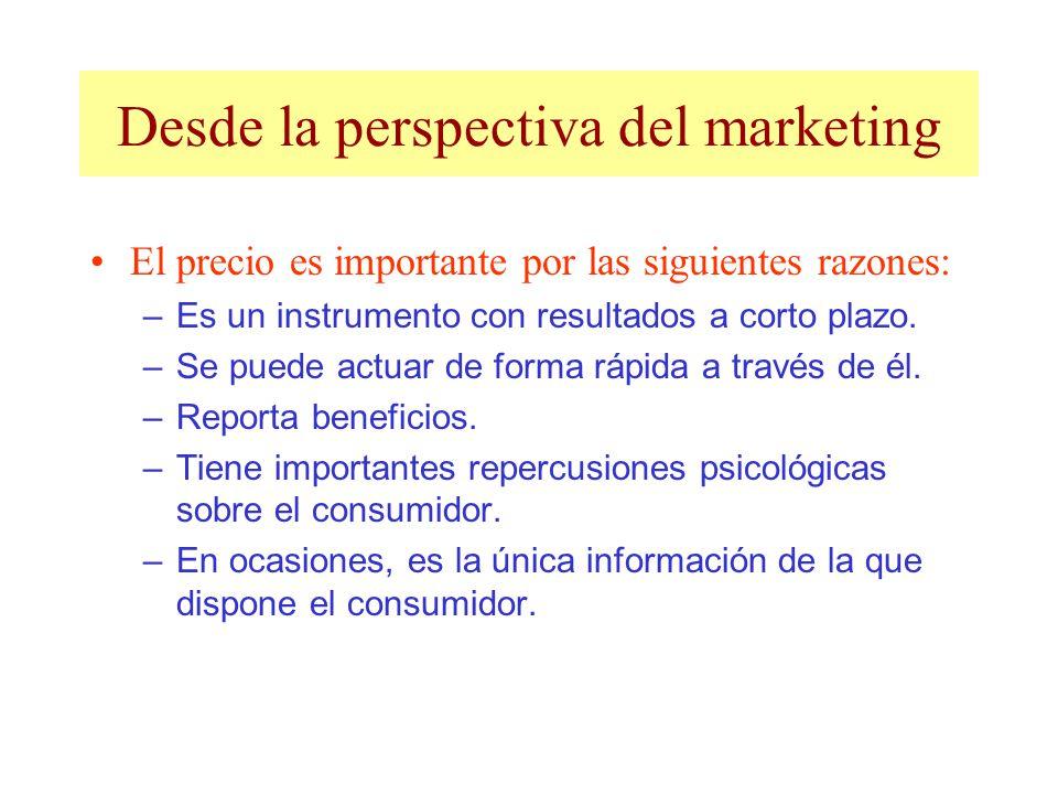 Desde la perspectiva del marketing El precio es importante por las siguientes razones: –Es un instrumento con resultados a corto plazo. –Se puede actu