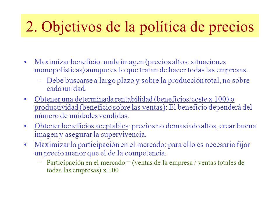 2. Objetivos de la política de precios Maximizar beneficio: mala imagen (precios altos, situaciones monopolísticas) aunque es lo que tratan de hacer t