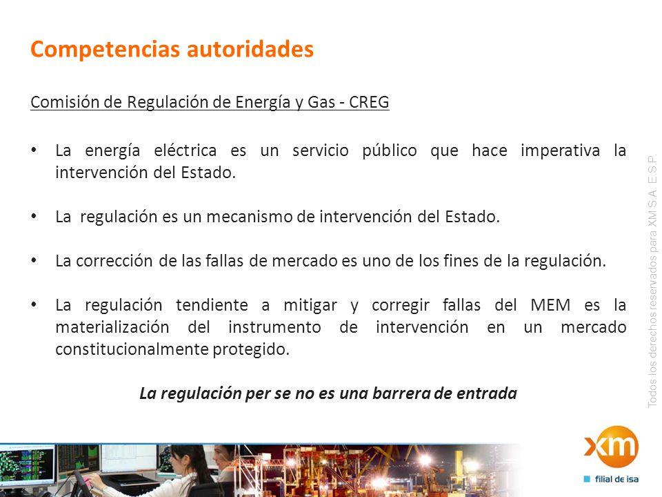 Todos los derechos reservados para XM S.A. E.S.P. Competencias autoridades Comisión de Regulación de Energía y Gas - CREG La energía eléctrica es un s
