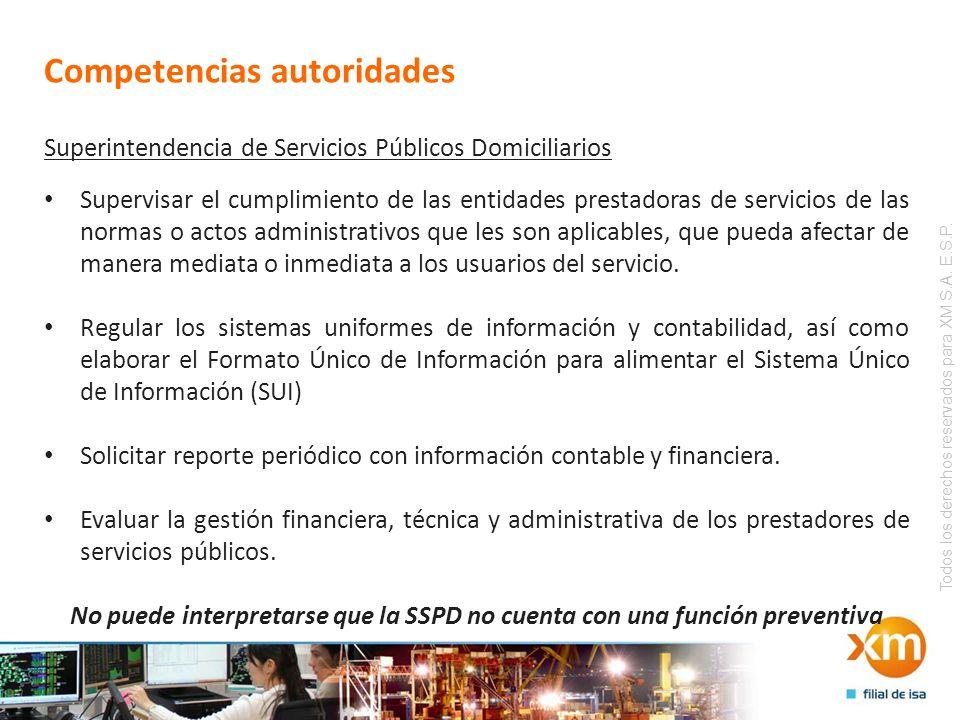 Todos los derechos reservados para XM S.A. E.S.P. Competencias autoridades Superintendencia de Servicios Públicos Domiciliarios Supervisar el cumplimi