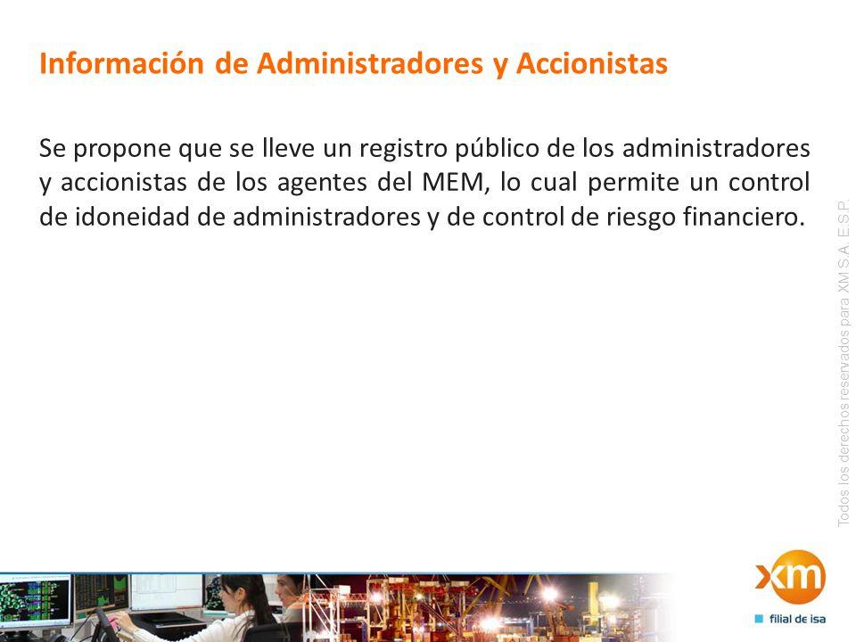 Todos los derechos reservados para XM S.A. E.S.P. Información de Administradores y Accionistas Se propone que se lleve un registro público de los admi