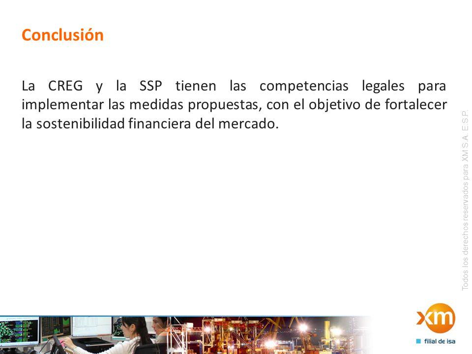 Todos los derechos reservados para XM S.A. E.S.P. Conclusión La CREG y la SSP tienen las competencias legales para implementar las medidas propuestas,