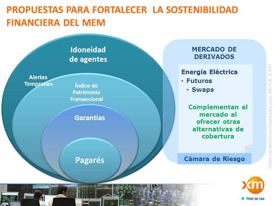 Todos los derechos reservados para XM S.A. E.S.P. PROPUESTAS PARA FORTALECER LA SOSTENIBILIDAD FINANCIERA DEL MEM MERCADO DE DERIVADOS Energía Eléctri