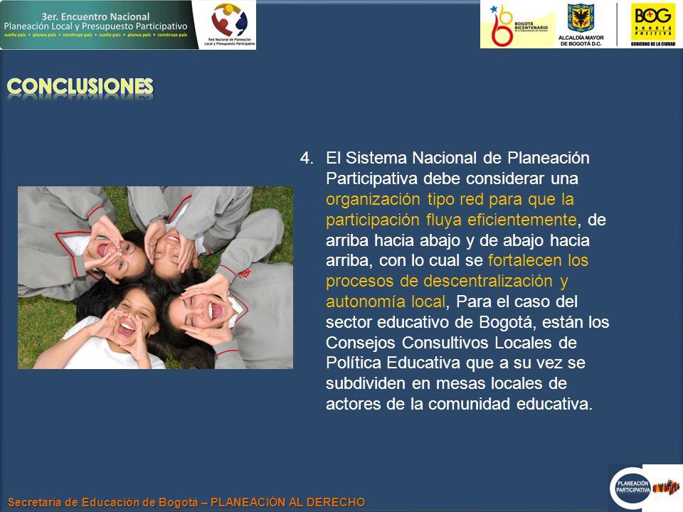 Secretaría de Educación de Bogotá – PLANEACIÓN AL DERECHO 4.El Sistema Nacional de Planeación Participativa debe considerar una organización tipo red para que la participación fluya eficientemente, de arriba hacia abajo y de abajo hacia arriba, con lo cual se fortalecen los procesos de descentralización y autonomía local, Para el caso del sector educativo de Bogotá, están los Consejos Consultivos Locales de Política Educativa que a su vez se subdividen en mesas locales de actores de la comunidad educativa.