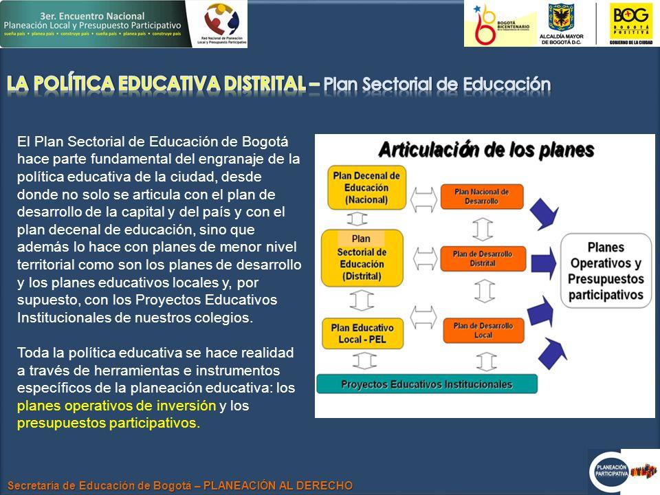 Secretaría de Educación de Bogotá – PLANEACIÓN AL DERECHO El Plan Sectorial de Educación de Bogotá hace parte fundamental del engranaje de la política educativa de la ciudad, desde donde no solo se articula con el plan de desarrollo de la capital y del país y con el plan decenal de educación, sino que además lo hace con planes de menor nivel territorial como son los planes de desarrollo y los planes educativos locales y, por supuesto, con los Proyectos Educativos Institucionales de nuestros colegios.