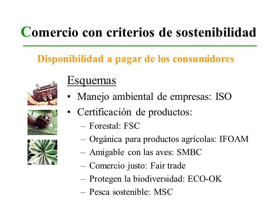 C omercio con criterios de sostenibilidad Esquemas Manejo ambiental de empresas: ISO Certificación de productos: –Forestal: FSC –Orgánica para product