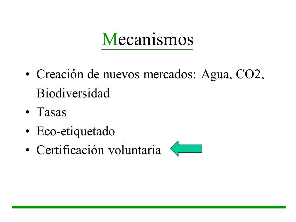 Mecanismos Creación de nuevos mercados: Agua, CO2, Biodiversidad Tasas Eco-etiquetado Certificación voluntaria