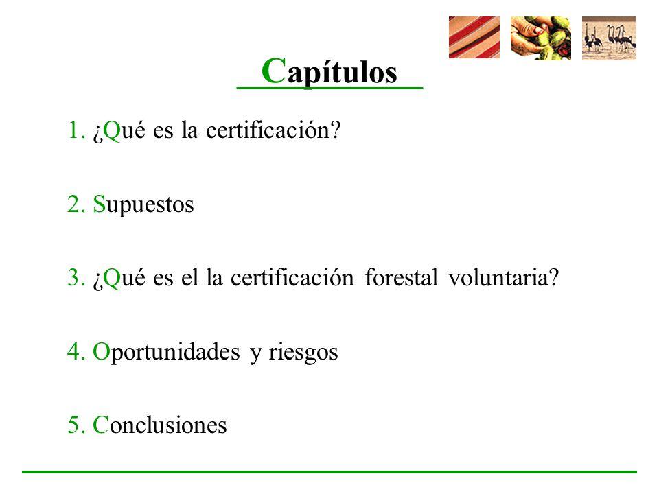 C apítulos 1. ¿Qué es la certificación? 2. Supuestos 3. ¿Qué es el la certificación forestal voluntaria? 4. Oportunidades y riesgos 5. Conclusiones
