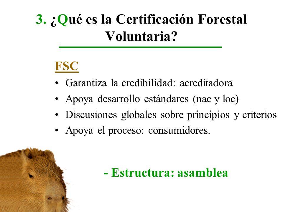 3. ¿Qué es la Certificación Forestal Voluntaria? FSC Garantiza la credibilidad: acreditadora Apoya desarrollo estándares (nac y loc) Discusiones globa
