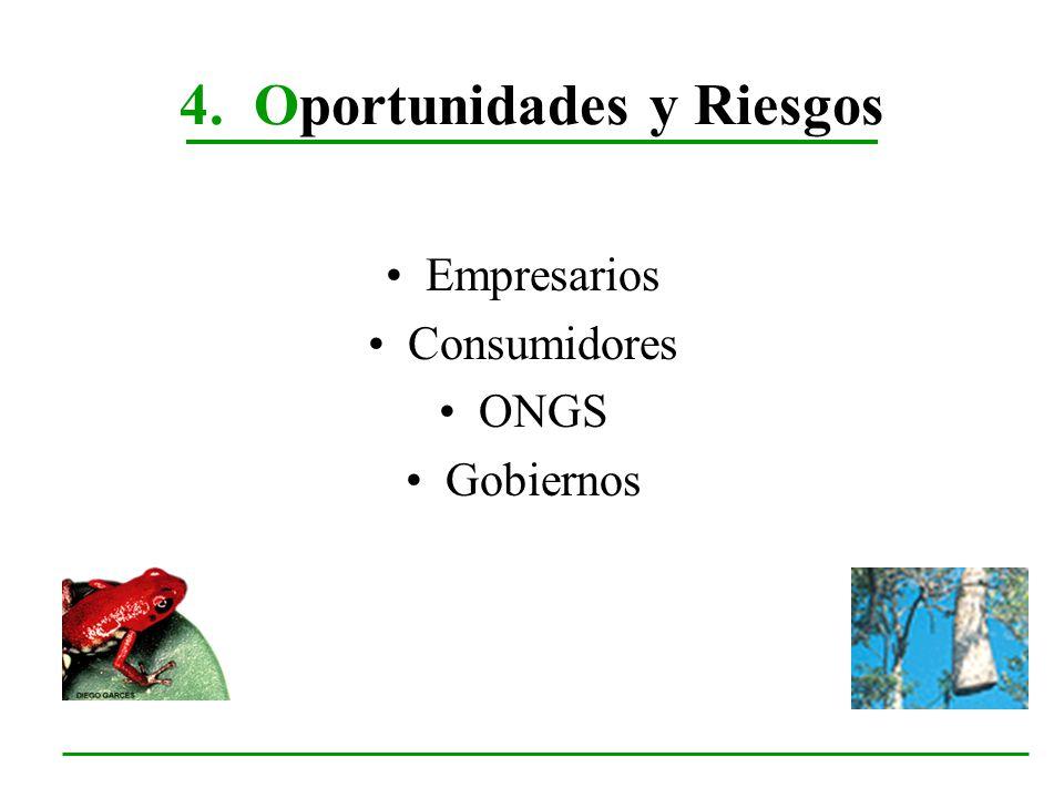 4. Oportunidades y Riesgos Empresarios Consumidores ONGS Gobiernos