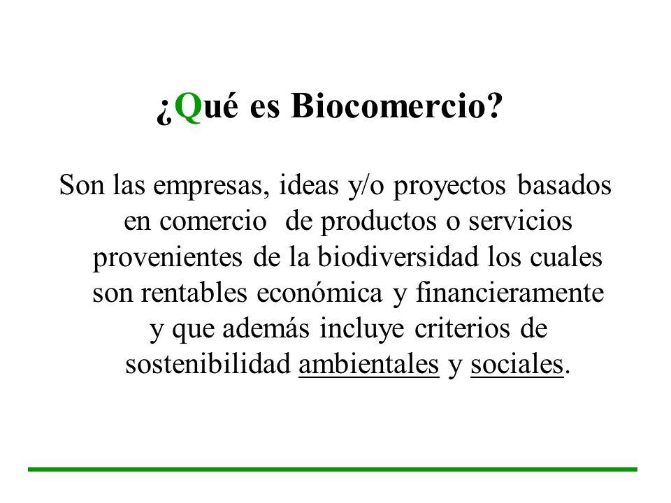 ¿Qué es Biocomercio? Son las empresas, ideas y/o proyectos basados en comercio de productos o servicios provenientes de la biodiversidad los cuales so