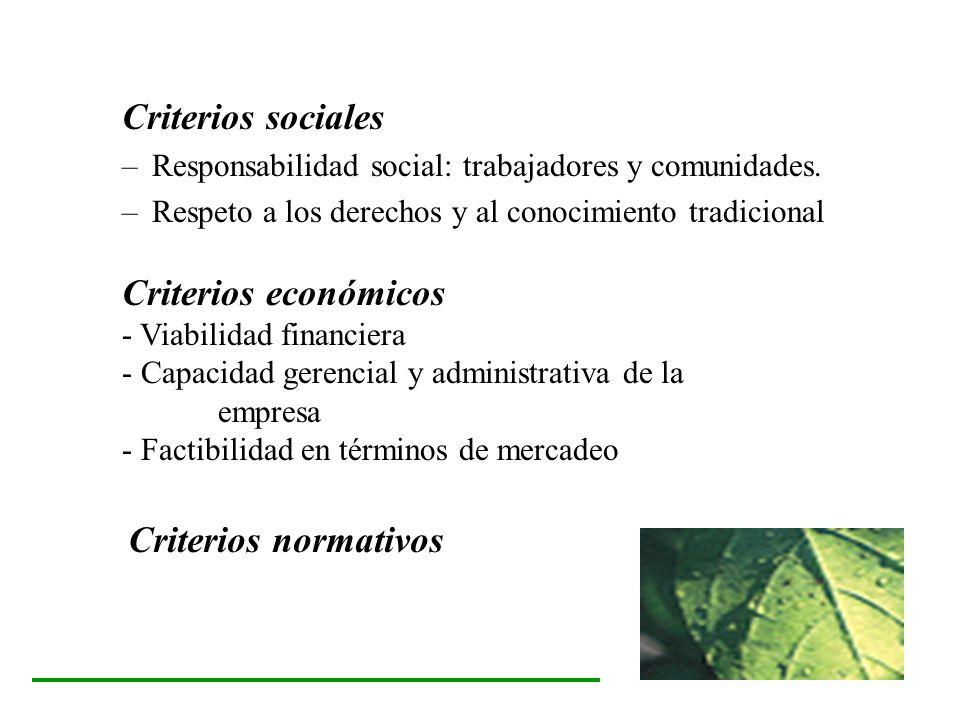 Criterios sociales –Responsabilidad social: trabajadores y comunidades. –Respeto a los derechos y al conocimiento tradicional Criterios económicos - V