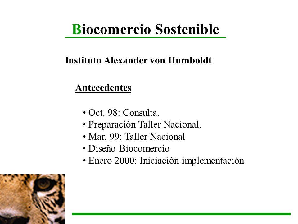 Biocomercio Sostenible Instituto Alexander von Humboldt Antecedentes Oct. 98: Consulta. Preparación Taller Nacional. Mar. 99: Taller Nacional Diseño B