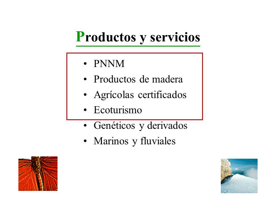P roductos y servicios PNNM Productos de madera Agrícolas certificados Ecoturismo Genéticos y derivados Marinos y fluviales