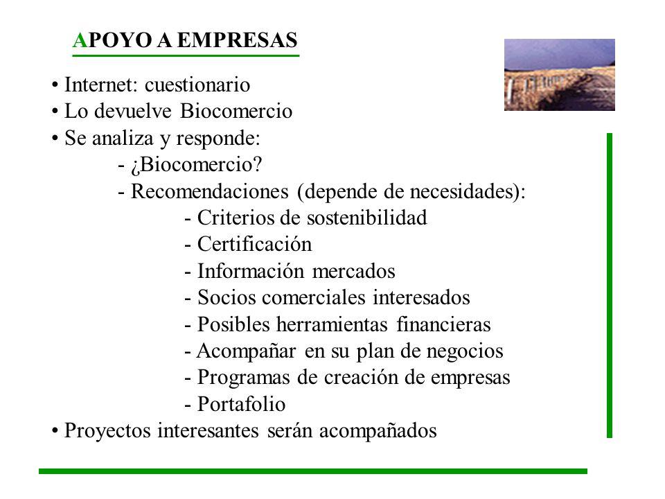 APOYO A EMPRESAS Internet: cuestionario Lo devuelve Biocomercio Se analiza y responde: - ¿Biocomercio? - Recomendaciones (depende de necesidades): - C