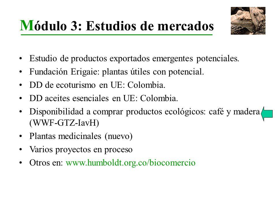 Estudio de productos exportados emergentes potenciales. Fundación Erigaie: plantas útiles con potencial. DD de ecoturismo en UE: Colombia. DD aceites