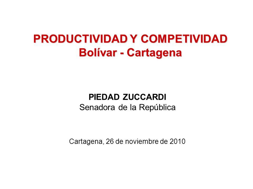 PRODUCTIVIDAD Y COMPETIVIDAD Bolívar - Cartagena PIEDAD ZUCCARDI Senadora de la República Cartagena, 26 de noviembre de 2010