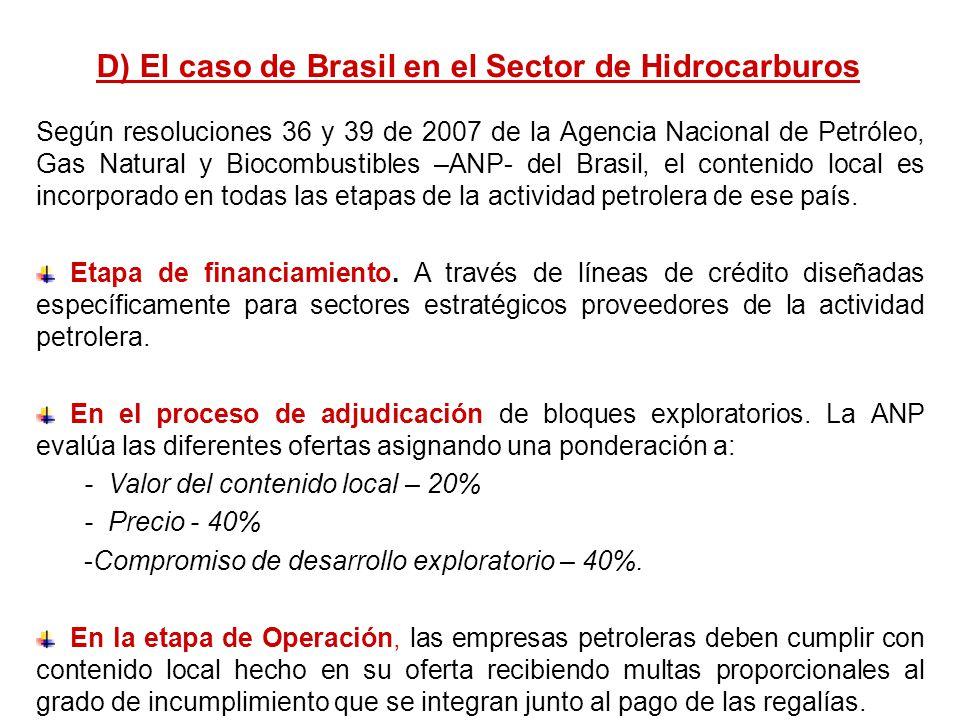 Según resoluciones 36 y 39 de 2007 de la Agencia Nacional de Petróleo, Gas Natural y Biocombustibles –ANP- del Brasil, el contenido local es incorpora