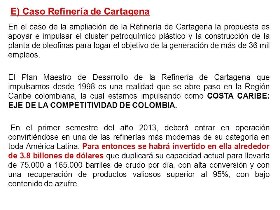 En el caso de la ampliación de la Refinería de Cartagena la propuesta es apoyar e impulsar el cluster petroquímico plástico y la construcción de la pl