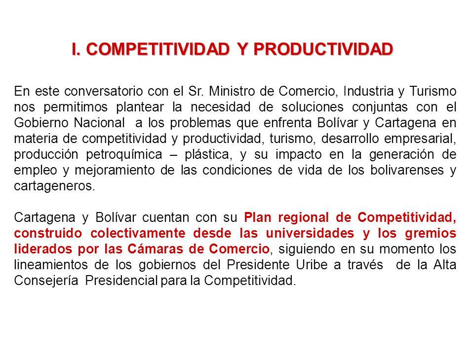 I. COMPETITIVIDAD Y PRODUCTIVIDAD En este conversatorio con el Sr. Ministro de Comercio, Industria y Turismo nos permitimos plantear la necesidad de s