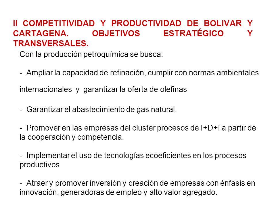 II COMPETITIVIDAD Y PRODUCTIVIDAD DE BOLIVAR Y CARTAGENA. OBJETIVOS ESTRATÉGICO Y TRANSVERSALES. Con la producción petroquímica se busca: - Ampliar la