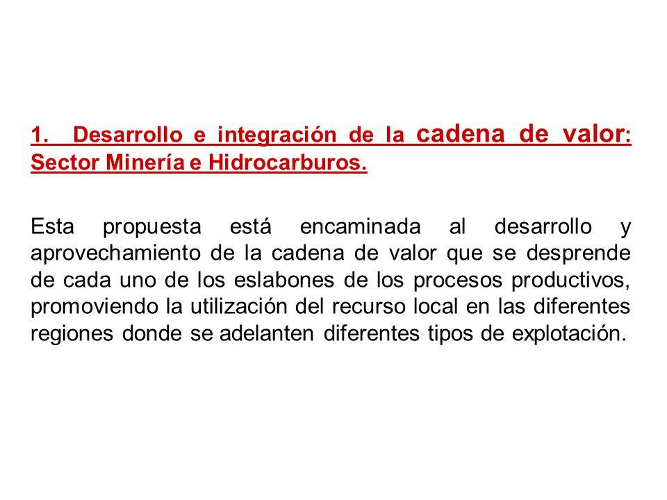 1. Desarrollo e integración de la cadena de valor : Sector Minería e Hidrocarburos. Esta propuesta está encaminada al desarrollo y aprovechamiento de