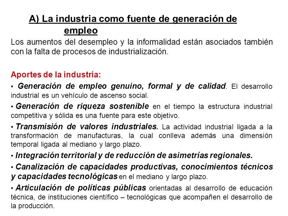 Los aumentos del desempleo y la informalidad están asociados también con la falta de procesos de industrialización. Aportes de la industria: Generació