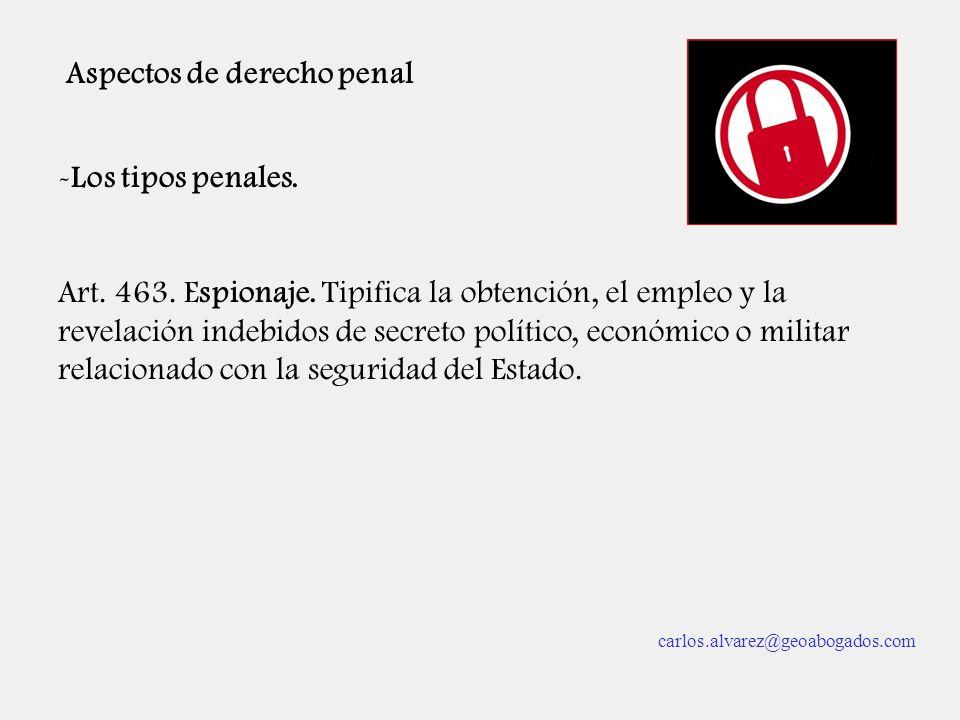 Aspectos de derecho penal -Los tipos penales. Art. 463. Espionaje. Tipifica la obtención, el empleo y la revelación indebidos de secreto político, eco