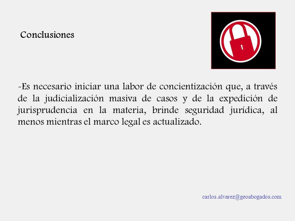 Conclusiones -Es necesario iniciar una labor de concientización que, a través de la judicialización masiva de casos y de la expedición de jurisprudenc