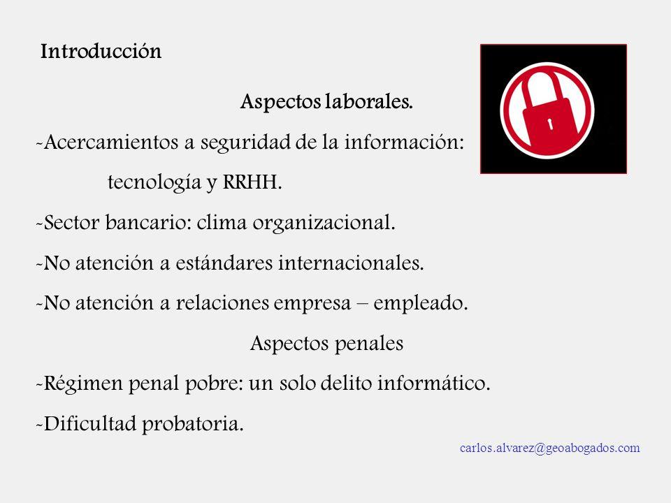 Introducción Aspectos laborales. -Acercamientos a seguridad de la información: tecnología y RRHH. -Sector bancario: clima organizacional. -No atención