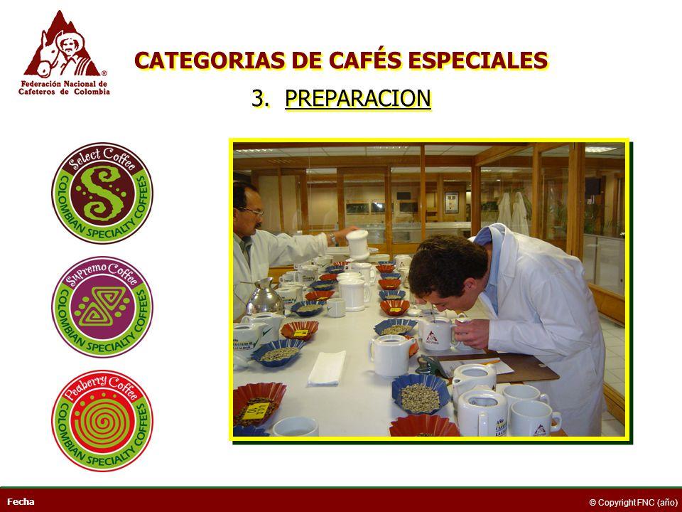 Fecha © Copyright FNC (año) CATEGORIAS DE CAFÉS ESPECIALES 3. PREPARACION