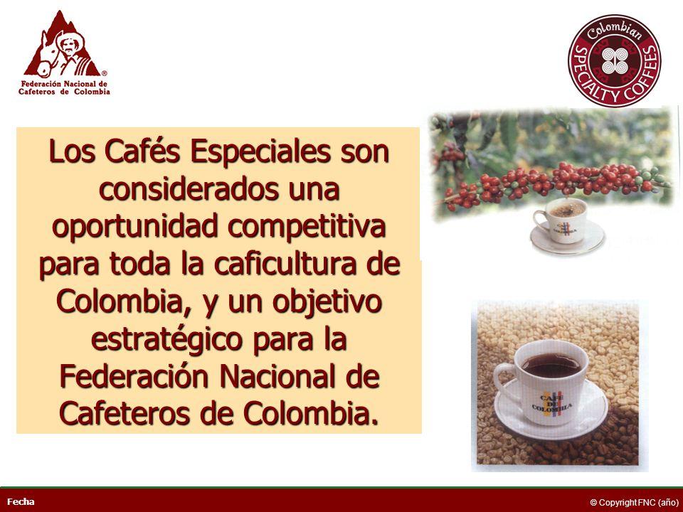 Fecha © Copyright FNC (año) Los Cafés Especiales son considerados una oportunidad competitiva para toda la caficultura de Colombia, y un objetivo estr