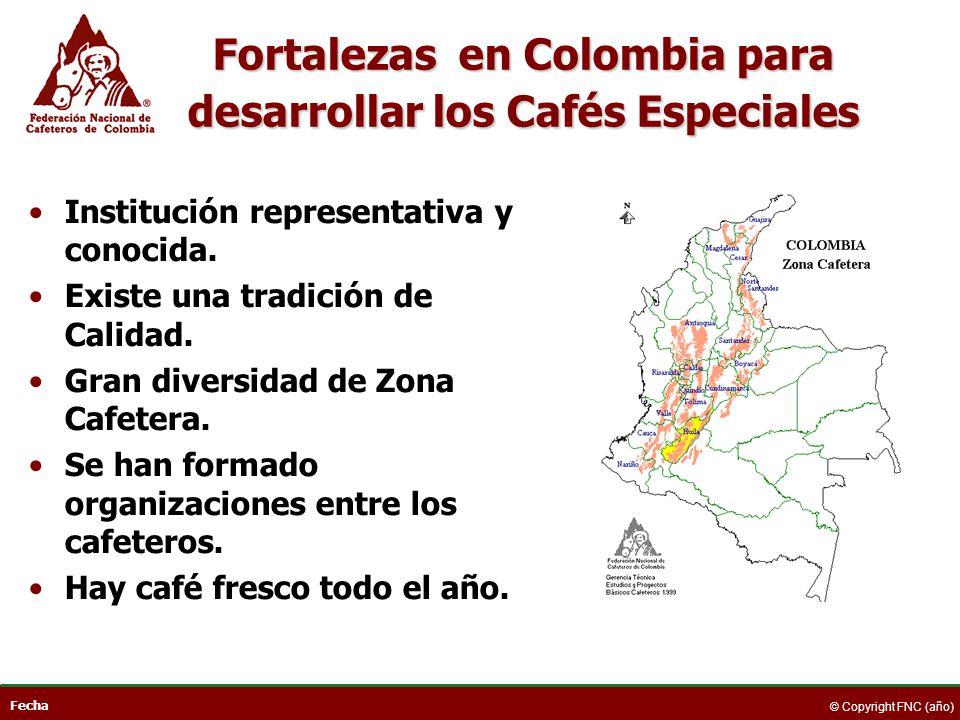 Fecha © Copyright FNC (año) Fortalezas en Colombia para desarrollar los Cafés Especiales Institución representativa y conocida. Existe una tradición d