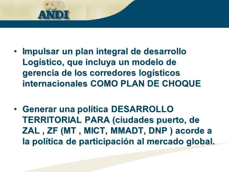 Impulsar un plan integral de desarrollo Logístico, que incluya un modelo de gerencia de los corredores logísticos internacionales COMO PLAN DE CHOQUEI