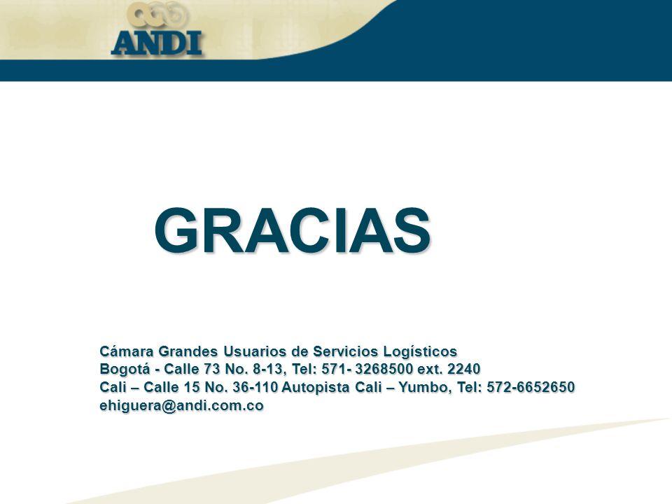 GRACIAS Cámara Grandes Usuarios de Servicios Logísticos Bogotá - Calle 73 No. 8-13, Tel: 571- 3268500 ext. 2240 Cali – Calle 15 No. 36-110 Autopista C