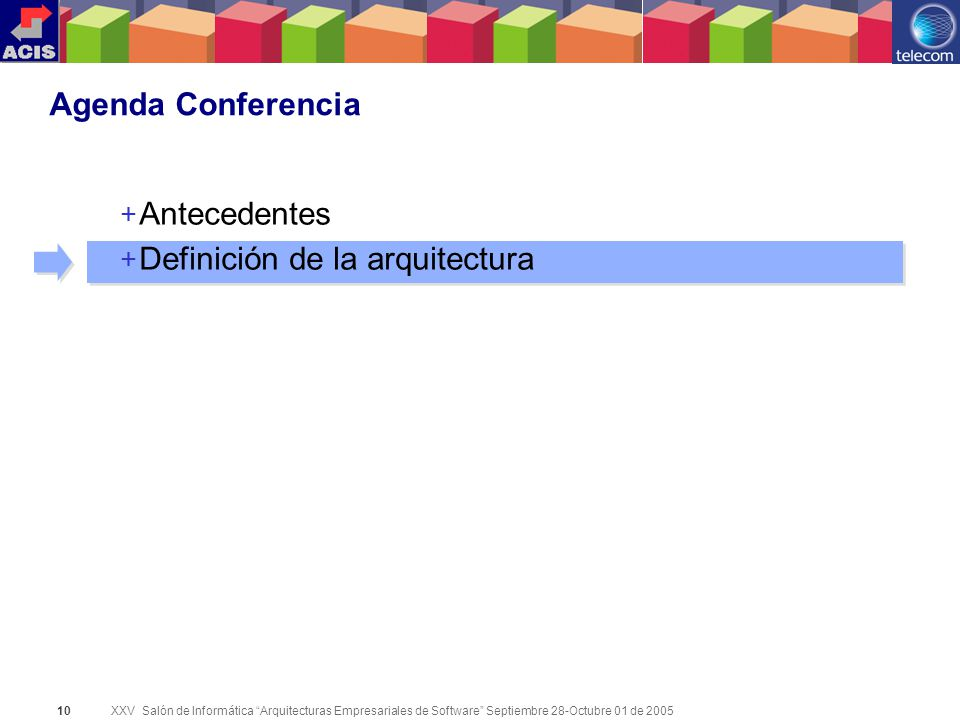 XXV Salón de Informática Arquitecturas Empresariales de Software Septiembre 28-Octubre 01 de 2005 10 Agenda Conferencia + Antecedentes + Definición de