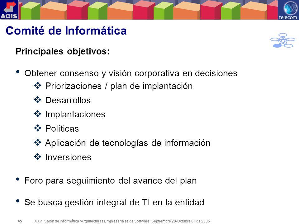 XXV Salón de Informática Arquitecturas Empresariales de Software Septiembre 28-Octubre 01 de 2005 45 Comité de Informática Principales objetivos: Obte