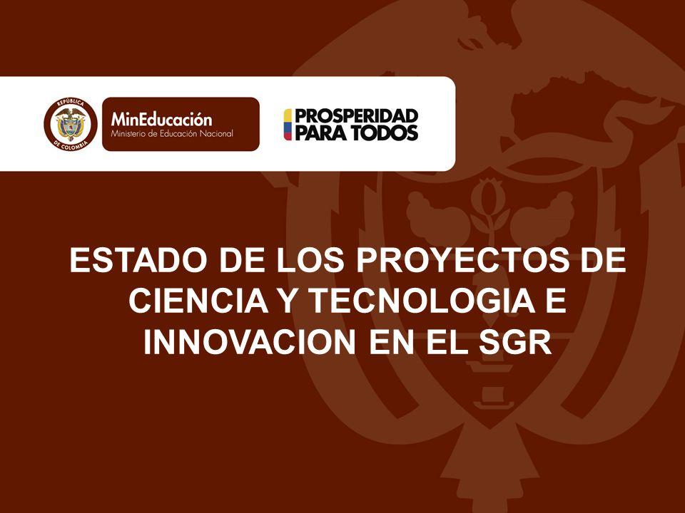 ESTADO DE LOS PROYECTOS DE CIENCIA Y TECNOLOGIA E INNOVACION EN EL SGR