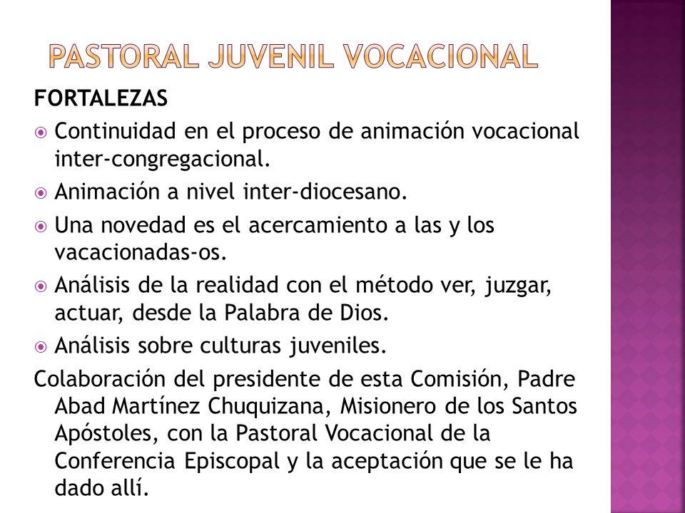 FORTALEZAS Continuidad en el proceso de animación vocacional inter-congregacional. Animación a nivel inter-diocesano. Una novedad es el acercamiento a