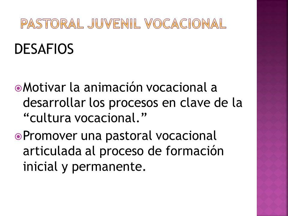 DESAFIOS Motivar la animación vocacional a desarrollar los procesos en clave de la cultura vocacional. Promover una pastoral vocacional articulada al