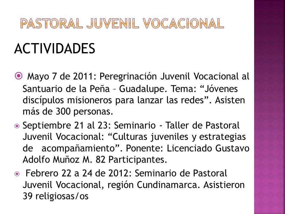 ACTIVIDADES Mayo 7 de 2011: Peregrinación Juvenil Vocacional al Santuario de la Peña – Guadalupe. Tema: Jóvenes discípulos misioneros para lanzar las