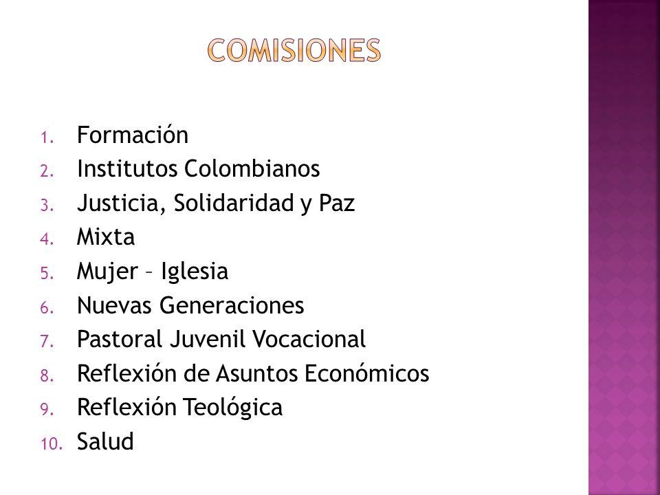 1. Formación 2. Institutos Colombianos 3. Justicia, Solidaridad y Paz 4. Mixta 5. Mujer – Iglesia 6. Nuevas Generaciones 7. Pastoral Juvenil Vocaciona