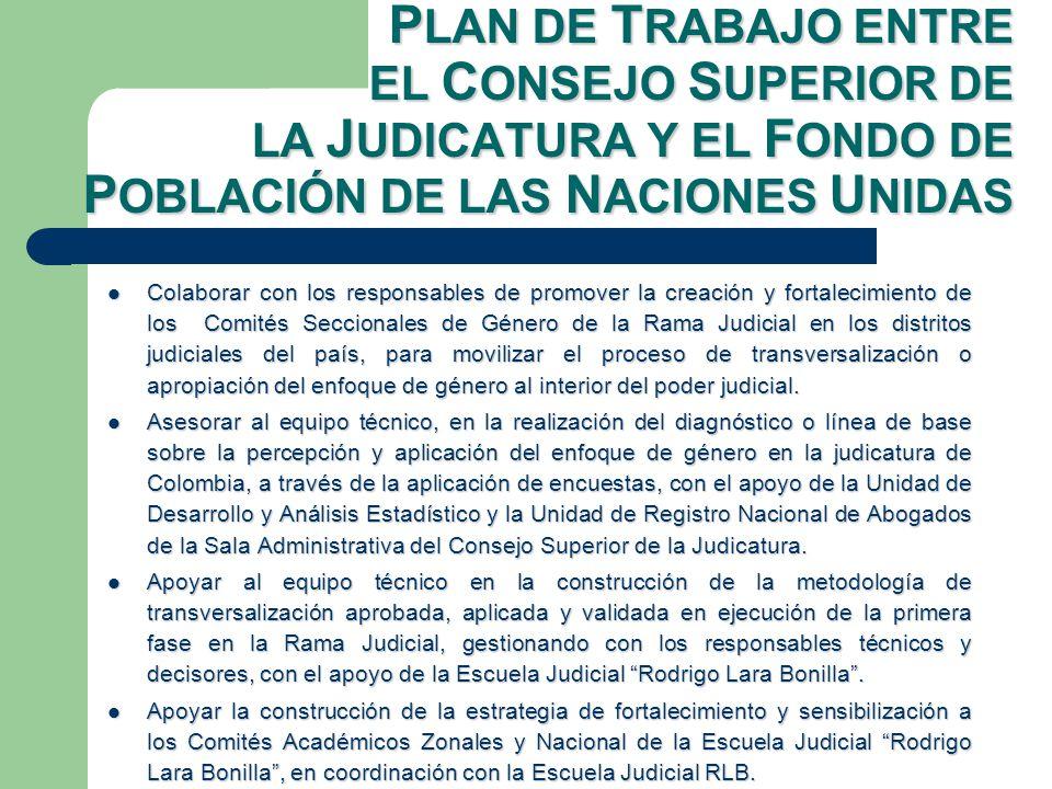 Colaborar con los responsables de promover la creación y fortalecimiento de los Comités Seccionales de Género de la Rama Judicial en los distritos judiciales del país, para movilizar el proceso de transversalización o apropiación del enfoque de género al interior del poder judicial.