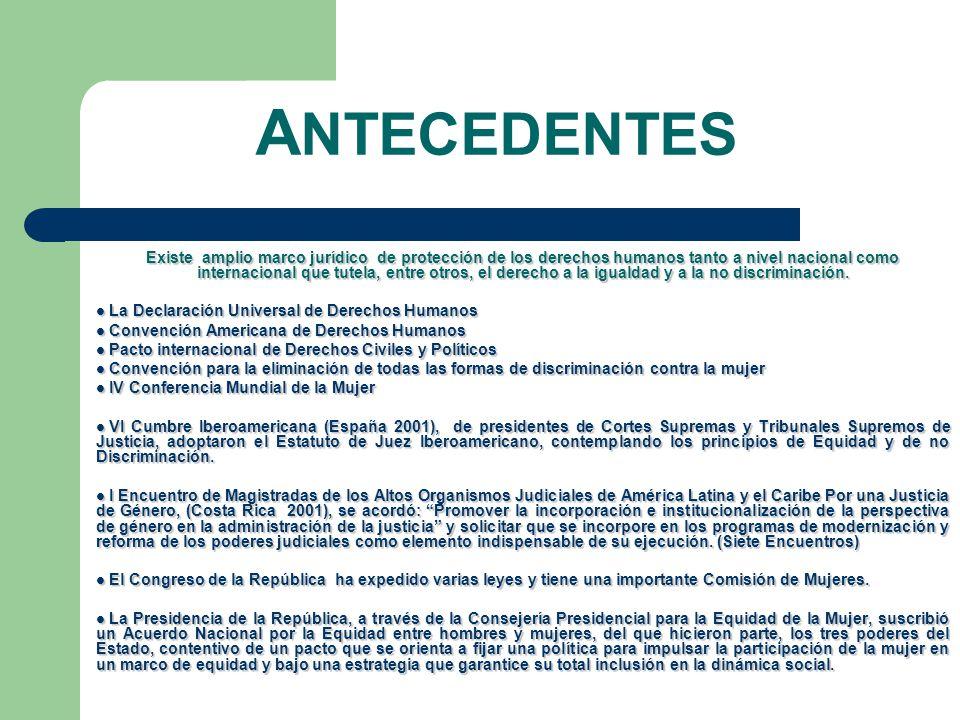 Las Magistradas de las Altas Corporaciones Nacionales de Justicia en Colombia han propiciado un proceso de sensibilización, estudio y análisis de la política de género al interior de la Rama Judicial durante la realización de cinco encuentros temáticos iniciados en el año de 2002.