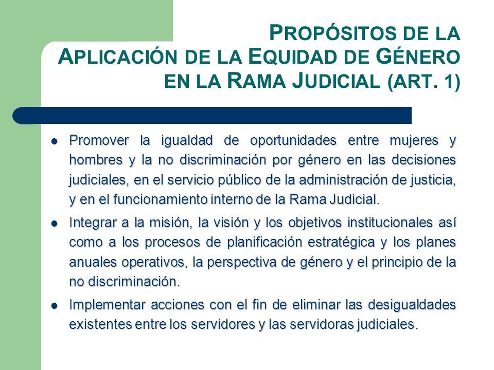 Á REAS E STRATÉGICAS (ART.2) Formación, investigación y sensibilización en materia de equidad de género, de manera continua, sistemática y transversalizada a todos los servidores y las servidoras de la Rama Judicial.