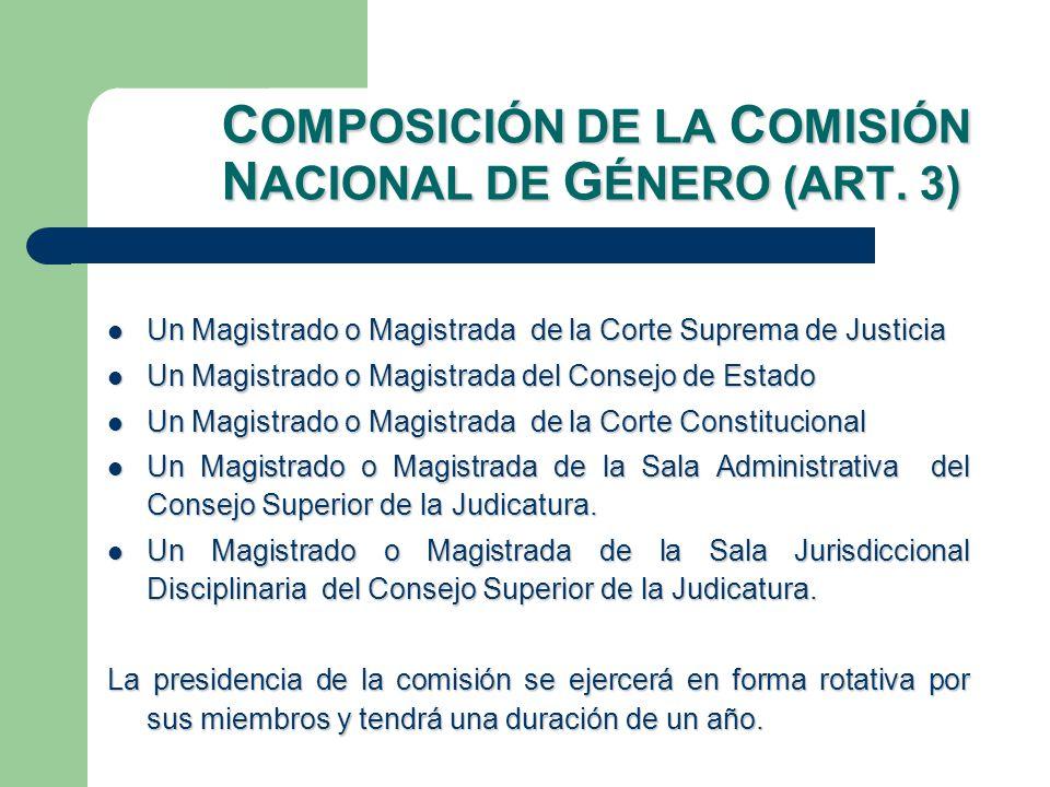 C OMPOSICIÓN DE LA C OMISIÓN N ACIONAL DE G ÉNERO (ART.