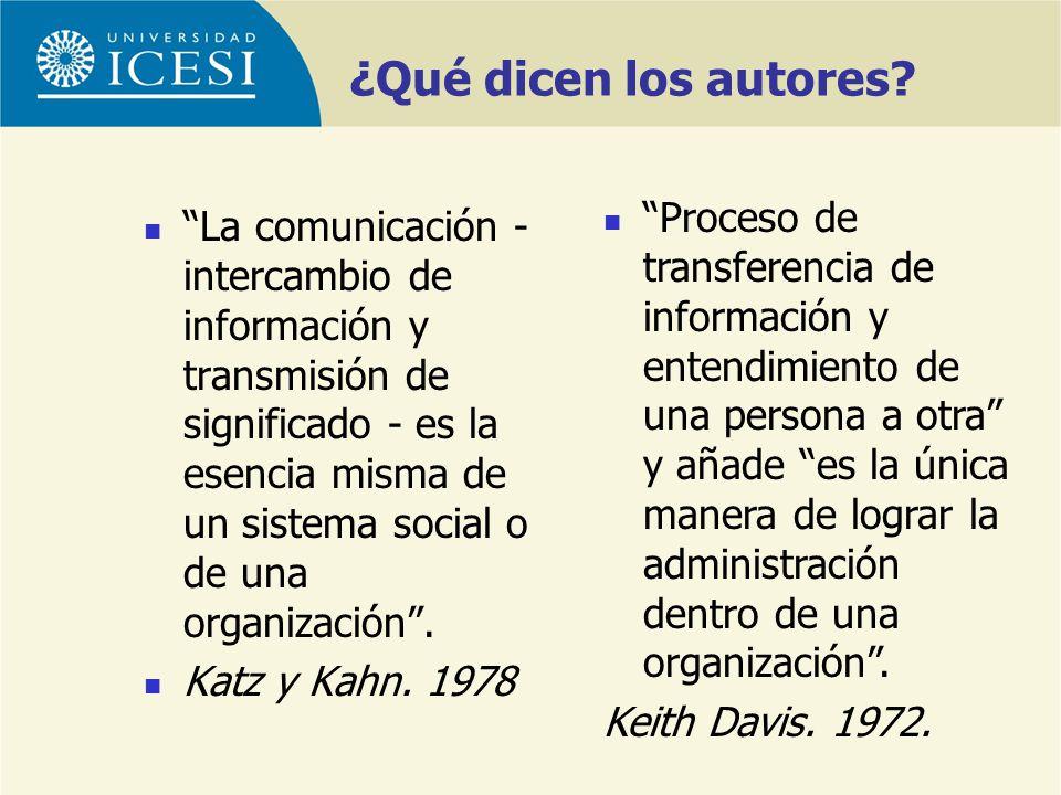¿Qué dicen los autores? La comunicación - intercambio de información y transmisión de significado - es la esencia misma de un sistema social o de una