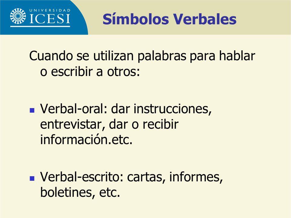 Símbolos Verbales Cuando se utilizan palabras para hablar o escribir a otros: Verbal-oral: dar instrucciones, entrevistar, dar o recibir información.e
