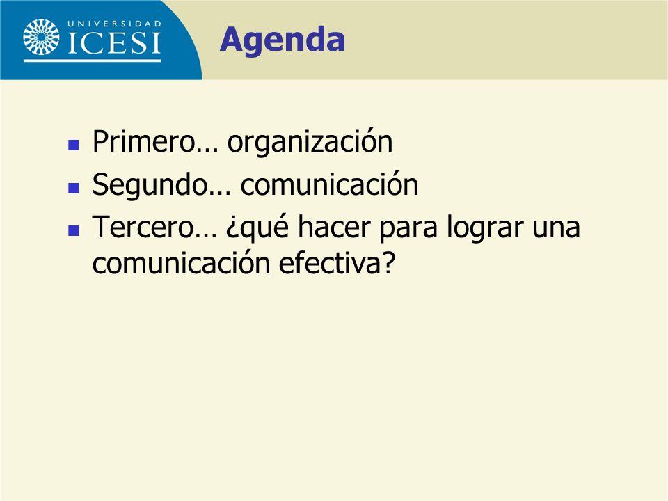Primero… organización Segundo… comunicación Tercero… ¿qué hacer para lograr una comunicación efectiva? Agenda